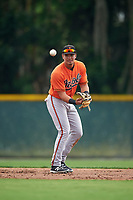 Baltimore Orioles Alejandro Juvier (75) during a minor league Spring Training intrasquad game on April 2, 2016 at Buck O'Neil Complex in Sarasota, Florida.  (Mike Janes/Four Seam Images)