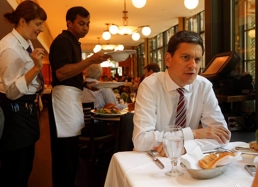 For Lunch with the AFR feature. Former British Foreign Secretary David Miliband dines at the Bryant Park Grill in New York City, 27 June, 2014. to go with Joanna Heath story. photo by Trevor Collens.