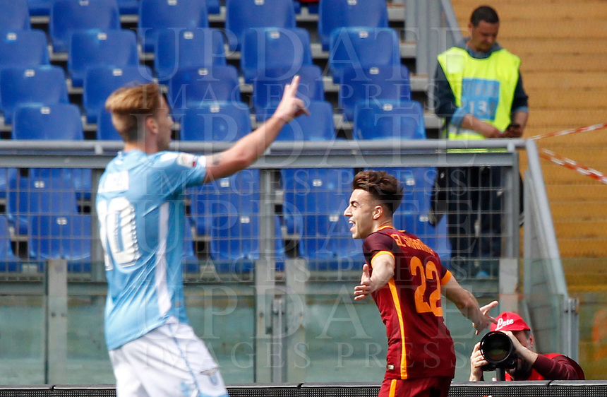 Calcio, Serie A: Lazio vs Roma. Roma, stadio Olimpico, 3 aprile 2016.<br /> Roma&rsquo;s Stephan El Shaarawy, right, celebrates after scoring during the Italian Serie A football match between Lazio and Roma at Rome's Olympic stadium, 3 April 2016.<br /> UPDATE IMAGES PRESS/Riccardo De Luca