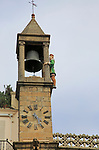 Bell tower Ayuntamiento town hall Abuelo Mayorga figure, Plasencia, Caceres province, Extremadura, Spain