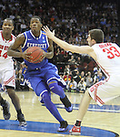 DeAndre Liggins drives the ball in the Sweet 16 of the 2011 NCAA Basketball Tournament, at the Prudential Center, in Newark, NJ, on Saturday, March 25, 2011.  Photo by Latara Appleby | Staff