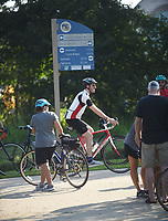 NWA Democrat-Gazette/FLIP PUTTHOFF <br /> Riders congregate Saturday Sept. 7 2019 along the Razorback Greenway at the Mercy trailhead in Rogers during the Square to Square bicycle ride from Bentonville to Fayetteville.