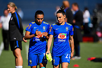 San Diego, CA - Sunday July 30, 2017: Marta, Jucinara during a 2017 Tournament of Nations match between the women's national teams of the United States (USA) and Brazil (BRA) at Qualcomm Stadium.
