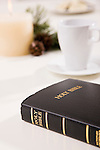 USA, Illinois, Metamora, Bible by cup on table