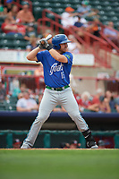 Hartford Yard Goats first baseman Brian Mundell (15) at bat during a game against the Erie SeaWolves on August 6, 2017 at UPMC Park in Erie, Pennsylvania.  Erie defeated Hartford 9-5.  (Mike Janes/Four Seam Images)