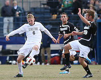 Ian Christianson #6 of Georgetown University flicks the ball past Daniel Fabian #19 of Providence University during a Big East quarter-final  match at North Kehoe Field, Georgetown University on November 6 2010 in Washington D.C. Providence won 2-1.