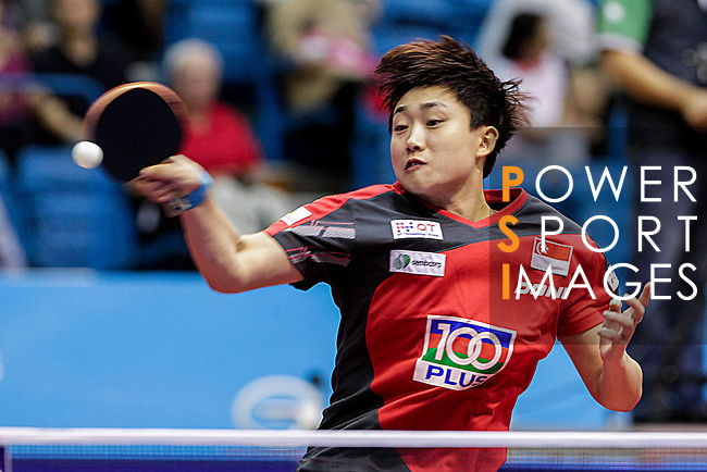 Athelete in action during the GAC Group 2013 ITTF World Tour Grand Finals at the Al Nasr Sports Club on January 09, 2014 in Dubai, United Arab Emirates. Photo by Alan Siu / Power Sport Images