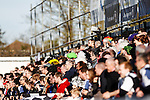 Grimsby fans, many wearing wigs, during the Vanamara Conference League match between Woking and Grimsby Town at the Kingfield Stadium, Woking, Surrey<br /> Picture by David Horn/eXtreme aperture photography +44 7545 970036<br /> 07/03/2015
