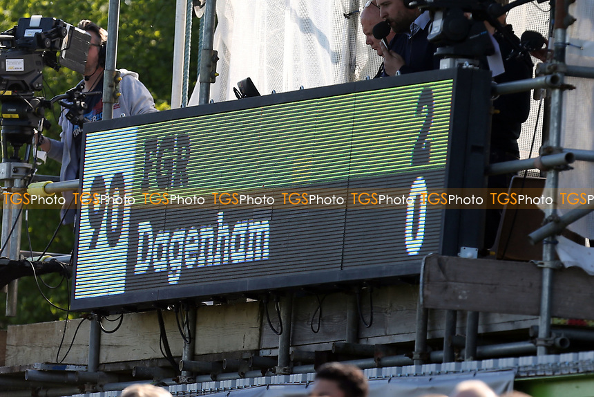 The scoreboard at the final whistle during Forest Green Rovers vs Dagenham & Redbridge, Vanarama National League Play-Off Football at The New Lawn on 7th May 2017