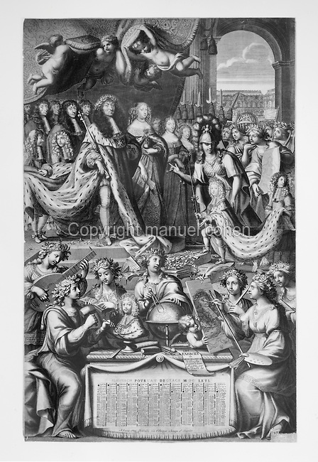 Almanach for the year 1665, with New Year's gifts presented to the Dauphin Louis de France, by a figure of Virtue, with Louis XIV, 1638-1715, King of France, and his wife Maria Theresa of Spain and his Court above, engraving by Nicolas de Poilly, 1626-98, French engraver. Copyright © Collection Particuliere Tropmi / Manuel Cohen