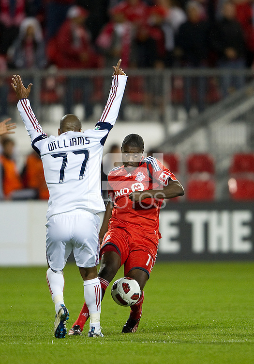 28 September 2010: Real Salt Lake midfielder Andy Williams #77 puts his hands in the air as Toronto FC midfielder Joseph Nane #15 takes the ball during a CONCACAF Champions League game between Real Salt Lake and Toronto FC at BMO Field in Toronto..Final score was 1-1...