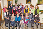 LEAVING PARTY: Joan Nic Crohan, Ballymacelligott who is leaving Gaelcsoil Mhic Easmainn, Tralee as special needs assistant after 15 years to go work with the Impact Trade Union celebrating with friends at the Kerins O'Rahillys clubhouse, Tralee on Thursday seated l-r: Cait Ui Chonchuir, Brid de Rath, Joan Nic Crohan, Brid Ni Cathain, Mairead Ni Bhrosnachain and Cait Ui Luanaigh. Back l-r: Eibhlin Ni Mhainin, Rebecca Ni Arrachtain, Colm O hAinifein, Treasa Ui Roghaill, Deaglan O Cuill, Maire Mhic Giolla Rua (priomhoide), Liam O Conchubhair, Jim O'Sullivan, Maire Nic Mhathuna, Maire Ui Neill, Noirin de Barra and Caitriona Ui Churrain.