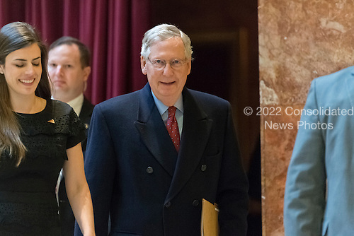 Senate Majority Leader Mitch McConnell is seen upon his arrival at Trump Tower in New York, NY, USA on January, 9, 2017. <br /> Credit: Albin Lohr-Jones / Pool via CNP