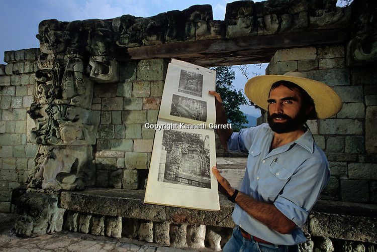 Maya; Copan; Honduras; Temple 22, Bill Fash, Maudslay Photo book, showing weathering damage over the years since the 1890 photo