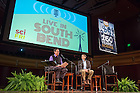 """Oct. 15, 2014; David Lodge, director of the Environmental Change Initiative, is interviewed by Ira Flatow during a taping of the radio show """"Science Friday"""" at the DeBartolo Performing Arts Center. (Photo by Matt Cashore/University of Notre Dame)"""