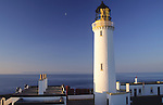 Scotlands most southerly point the Mull of Galloway lighthouse looking across Irish Sea to the Isle of Man at sunrise UK