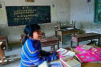 Sala de aula em vilarejo. Liuzhou. China. 2007. Foto de Flávio Bacellar.