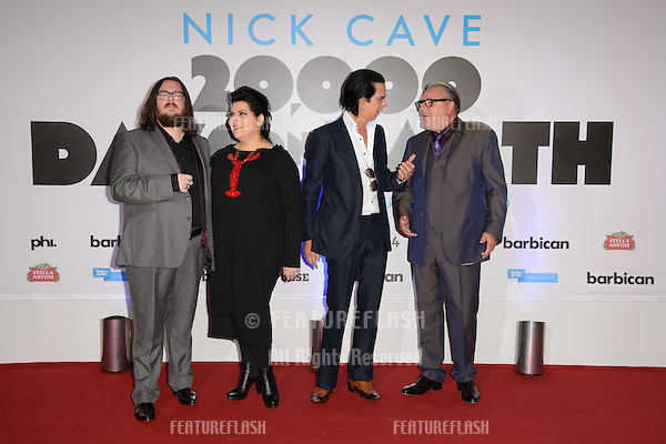 "Iain Forsyth and Jane Pollard, actor, Ray Winstone and musician, Nick Cave arriving for the ""20,000 Days on Earth"" Gala Screening at the Barbican Centre, London. 17/09/2014 Picture by: Steve Vas / Featureflash"
