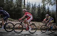 Anthony Perez (FRA/Cofidis) up the Cote de Mont-le-Soie.<br /> <br /> 104th Liège - Bastogne - Liège 2018 (1.UWT)<br /> 1 Day Race: Liège - Ans (258km)