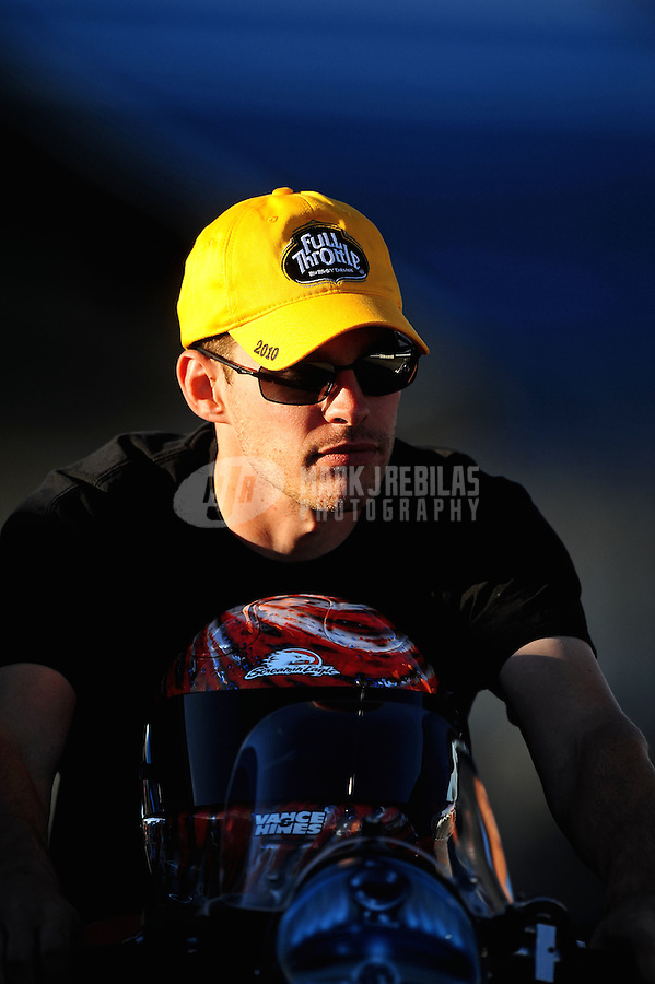 Sept. 4, 2010; Clermont, IN, USA; NHRA pro stock motorcycle rider Andrew Hines during qualifying for the U.S. Nationals at O'Reilly Raceway Park at Indianapolis. Mandatory Credit: Mark J. Rebilas-