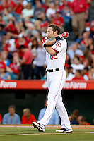 Josh Hamilton #32 of the Los Angeles Angels during a game against the St. Louis Cardinals at Angel Stadium on July 3, 2013 in Anaheim, California. (Larry Goren/Four Seam Images)