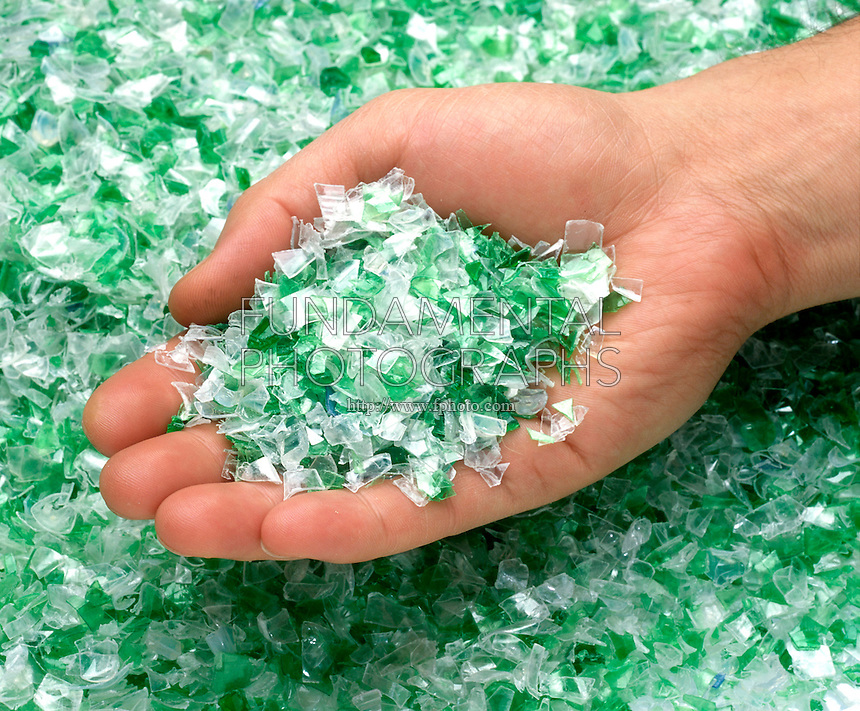 RECYCLING: PLASTIC BOTTLES FOR POLYFLEECE<br /> Recycled PET Flake (RPET) From Soda Bottles<br /> PET (polyethylene terephthalate) is #1 plastic.  It takes 63 20 oz. PET bottles to make a sweater. Bottles are collected in recycling programs, sorted and ground into PET flake, which is melted into pellets for polyester fiber.