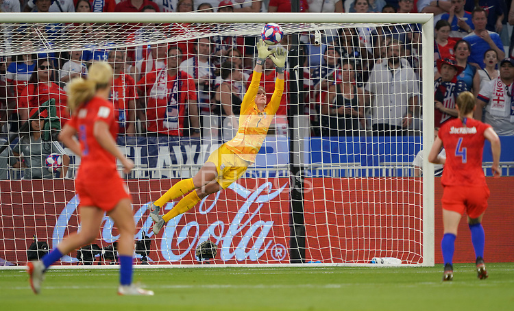 DECINES-CHARPIEU, FRANCE - JULY 02: Alyssa Naeher #1 during a 2019 FIFA Women's World Cup France Semi-Final match between England and the United States at Groupama Stadium on July 02, 2019 in Decines-Charpieu, France.