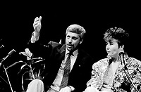 September 14,1985 File Photo - Pierre-Marc Johnson, Francine Lalonde<br /> take part in a debate between all candidates in the Parti Quebecois leadership race which was eventually won by Pierre-Marc Johnson