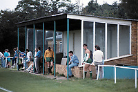 The main stand at Bovingdon FC, Green Lane, Bovingdon, Hertfordshire, pictured on 3rd August 1991