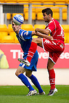 St Johnstone v Real Valladolid....07.08.10  Pre-Season Friendly.Scott Dobie and Barragan.Picture by Graeme Hart..Copyright Perthshire Picture Agency.Tel: 01738 623350  Mobile: 07990 594431