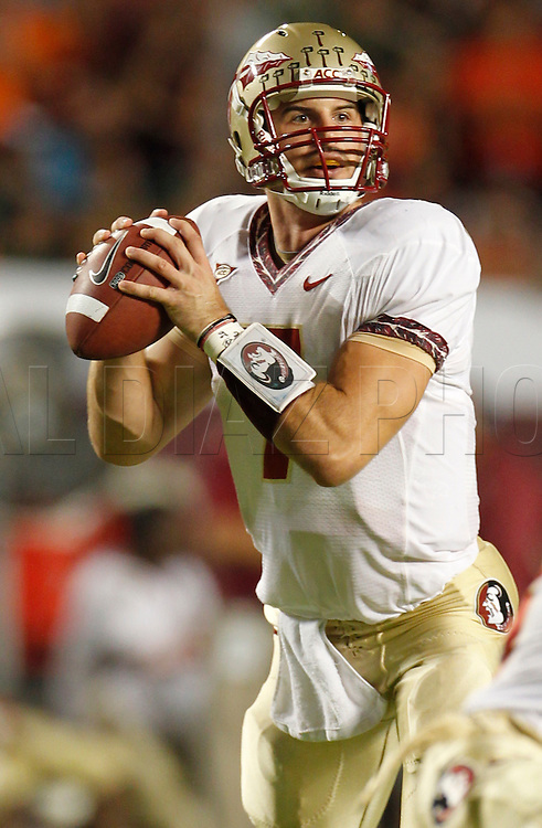 Christian Ponder quarterback for the Seminoes looks to pass during the first quarter of the University of Miami vs Florida State University on Saturday October 9, 2010.