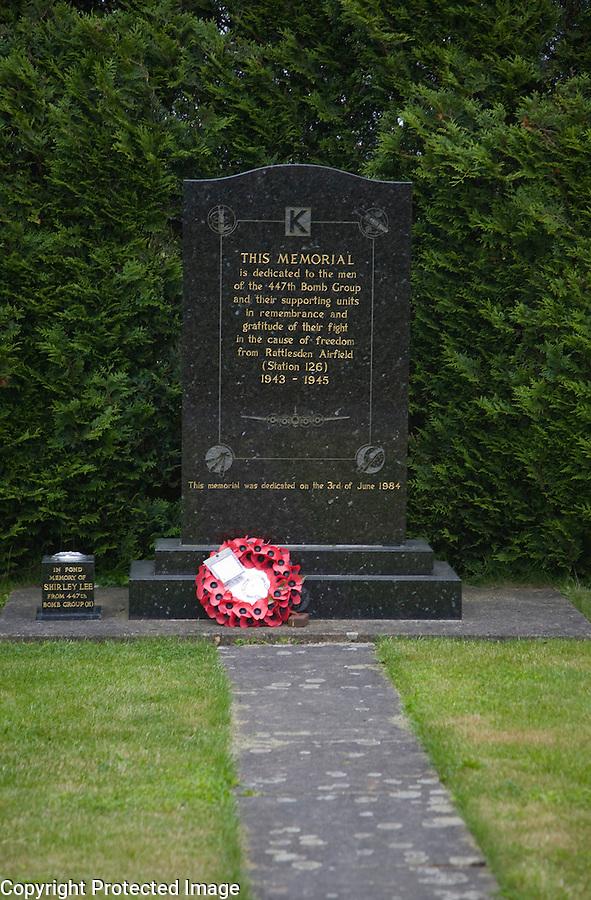 Memorial to USA 447th Bomb Group, Rattlesden, Suffolk, England