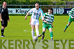 Killarney Celtic's Jamie Spillane and Camp United's Vinnie O'Driscoll.
