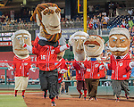 23 July 2016: The Washington Nationals Racing Presidents entertain the fans between innings of a game against the San Diego Padres at Nationals Park in Washington, DC. The Nationals defeated the Padres 3-2 to tie their series at one game apiece. Mandatory Credit: Ed Wolfstein Photo *** RAW (NEF) Image File Available ***