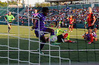 Orlando Pride forward Jasmyne Spencer (23) puts the ball in the net for apparent tying goal during match with Western New York Flash, however, is call offsides. Flash lead 1-0 at the half