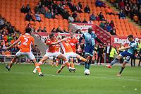 Nick Freeman of Wycombe Wanderers has a shot on goal during the Sky Bet League 2 match between Blackpool and Wycombe Wanderers at Bloomfield Road, Blackpool, England on 20 August 2016. Photo by James Williamson / PRiME Media Images.
