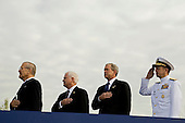 Donald Rumsfeld, former U.S. Secretary of Defense, left, Robert Gates, U.S. Secretary of Defense, second left, U.S. President George W. Bush and Michael Mullen, chairman of the Joint Chiefs of Staff, right, recite the Pledge of Allegiance during the dedication of the September 11th Memorial at the Pentagon on the 7th anniversary of the September 11, 2001 attacks on New York and Washington in Washington, DC, Thursday, September 11, 2008.  <br /> Credit: Joshua Roberts / Pool via CNP