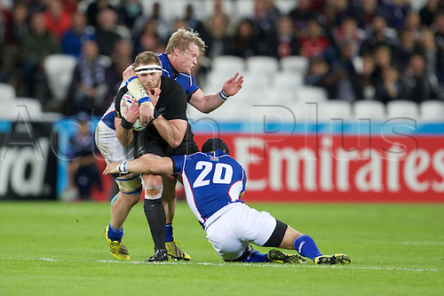 24.09.2015. Olympic Stadium, London, England. Rugby World Cup. New Zealand versus Namibia. Namibia lock Janco Venter makes a tackle.