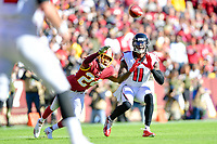 Landover, MD - November 4, 2018: Washington Redskins cornerback Josh Norman (24) knocks down a pass intended for Atlanta Falcons wide receiver Julio Jones (11) during game between the Atlanta Falcons and the Washington Redskins at FedEx Field in Landover, MD. The Falcons defeated the Redskins 38-13. (Photo by Phillip Peters/Media Images International)