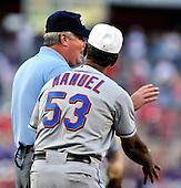 New York Mets manager Jerry Manuel (53) argues with third base umpire Tim Welke after Washington Nationals first baseman Adam Dunn's double in the bottom of the ninth inning that led to 2 runs at Nationals Park in Washington, D.C. on Saturday, July 3, 2010.  The Nationals won 6 -5 on a walk-off single in the bottom of the ninth inning..Credit: Ron Sachs / CNP.(RESTRICTION: NO New York or New Jersey Newspapers or newspapers within a 75 mile radius of New York City)