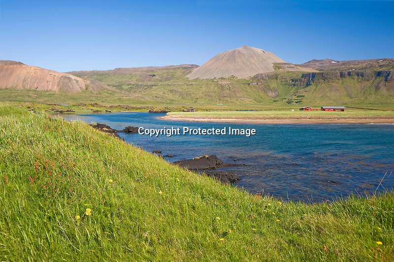 View of Budavik Bay in the Former Fishing Village of Budir in West Iceland