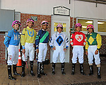 Monmouth Park Jockeys (L to R) Joe Bravo, Victor Lebron, Winston Kay, Paco Lopez, Jonathan Gonzales and Jose Ferrer wore pink helmet covers in honor of the Kortney Rose Foundation Race, the third race on Sunday August 7, 2016 which was won by Hello Abraxon and Jose Ferrer at Monmouth Park Racetrack in Oceanport, NJ. The Kortney Rose Foundation raises funds and awarenesss in the fight to find better treatments and ultimately a cure for pediatric brain tumors.  Photo By Bill Denver/EQUI-PHOTO