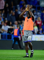 Lincoln City's John Akinde applauds the fans at the final whistle<br /> <br /> Photographer Andrew Vaughan/CameraSport<br /> <br /> The Carabao Cup First Round - Huddersfield Town v Lincoln City - Tuesday 13th August 2019 - John Smith's Stadium - Huddersfield<br />  <br /> World Copyright © 2019 CameraSport. All rights reserved. 43 Linden Ave. Countesthorpe. Leicester. England. LE8 5PG - Tel: +44 (0) 116 277 4147 - admin@camerasport.com - www.camerasport.com