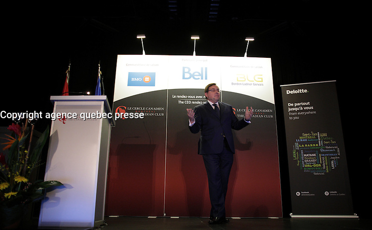 Guy Breton, Rector - Universit&eacute; de Montreal speak at the Canadian Club of Montreal tribune,Monday, October 17, 2016<br /> <br />  Photo : Agence Quebec Presse