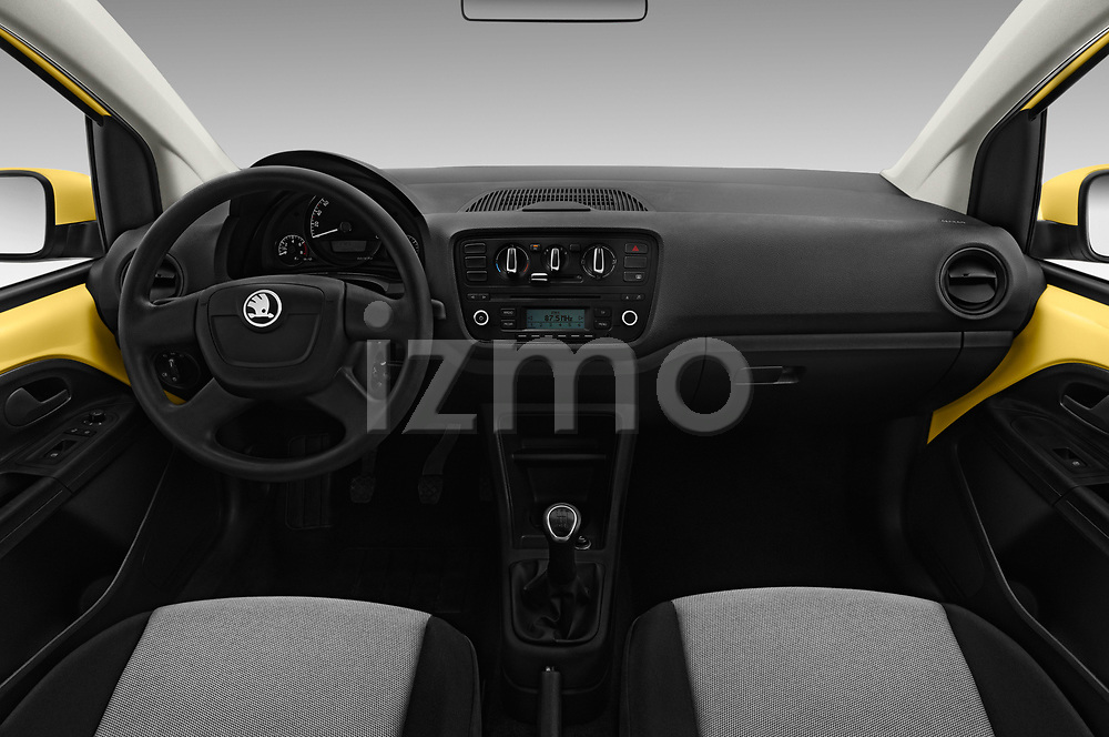 Stock photo of straight dashboard view of 2016 Skoda Citigo Ambition 3 Door hatchback Dashboard