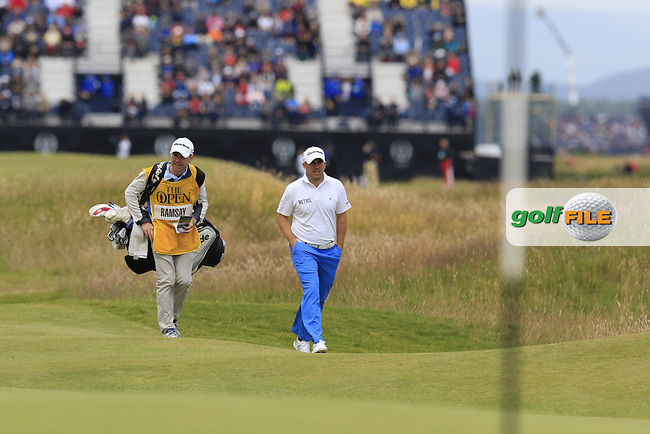 Richie RAMSAY (SCO) and caddy Ryan walk to the 17th green during Monday's Final Round of the 144th Open Championship, St Andrews Old Course, St Andrews, Fife, Scotland. 20/07/2015.<br /> Picture Eoin Clarke, www.golffile.ie