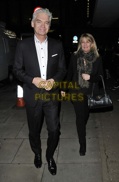 LONDON, ENGLAND - FEBRUARY 27: Phillip Schofield &amp; Stephanie Lowe attend the &quot;War Horse&quot; NT Live gala performance, The New London Theatre, Drury Lane, on Thursday February 27, 2014 in London, England, UK.<br /> CAP/CAN<br /> &copy;Can Nguyen/Capital Pictures