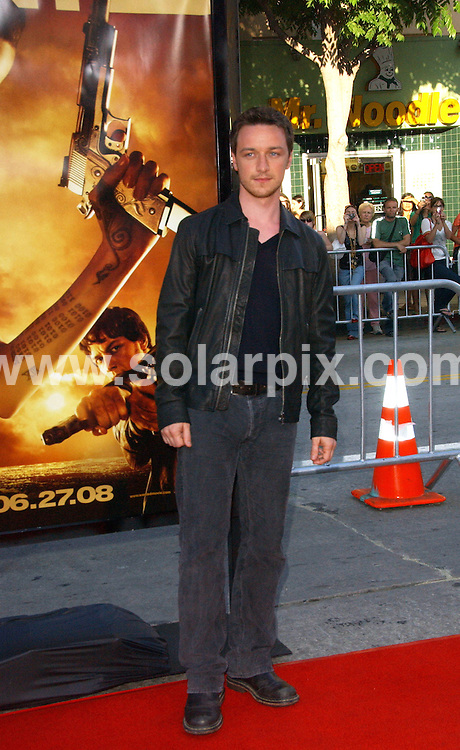 **ALL ROUND PICTURES FROM SOLARPIX.COM**.**SYNDICATION RIGHTS FOR UK, SPAIN, PORTUGAL, AUSTRALIA, S.AFRICA & DUBAI (U.A.E) ONLY**.The Hollywood actor James McAvoy attended Wanted the World Premiere at the Mann's Village Theater in Westwood California in the USA. .This Pic:James McAvoy..JOB REF:6693-PHZ/Albert .L.Ortega     DATE:19_06_08 .**MUST CREDIT SOLARPIX.COM OR DOUBLE FEE WILL BE CHARGED* *UNDER NO CIRCUMSTANCES IS THIS IMAGE TO BE REPRODUCED FOR ANY ONLINE EDITION WITHOUT PRIOR PERMISSION*