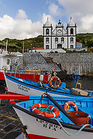 WQ50125-D. Fishing boats in front of church in seaside town of Calheta de Nesquim on Pico Island. Azores, Portugal, Atlantic Ocean.<br /> Photo Copyright © Brandon Cole. All rights reserved worldwide.  www.brandoncole.com