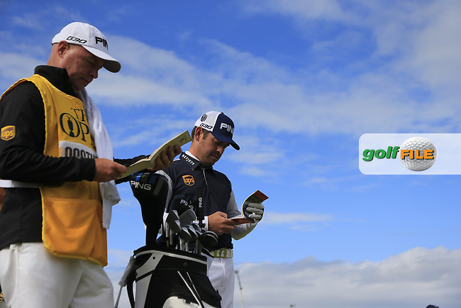 Louis Oosthuizen (RSA) prepares to tee off the 14th tee during Sunday's Round 3 of the 144th Open Championship, St Andrews Old Course, St Andrews, Fife, Scotland. 19/07/2015.<br /> Picture Eoin Clarke, www.golffile.ie